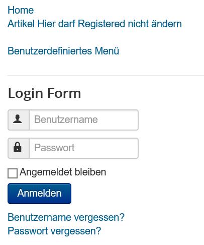 Joomla Die Website vor dem Einloggen des Users Registered