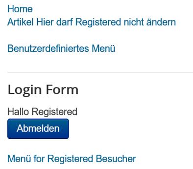 Joomla Nach dem Einloggen sieht der User Registered sein Menü