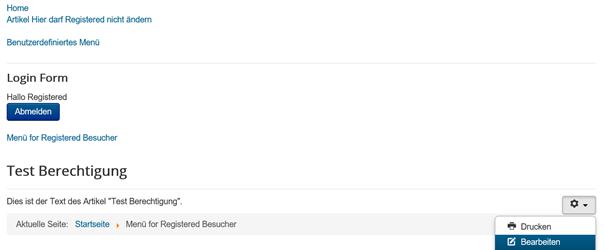 Joomla Der User Registered kann innerhalb seines Menüs 1 Artikel bearbeiten