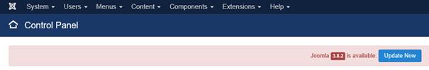 Hinweis von Joomla oben im Control Panel daß ein Update möglich ist
