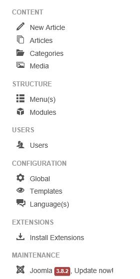 Hinweis von Joomla links im Control Panel daß ein Update möglich ist