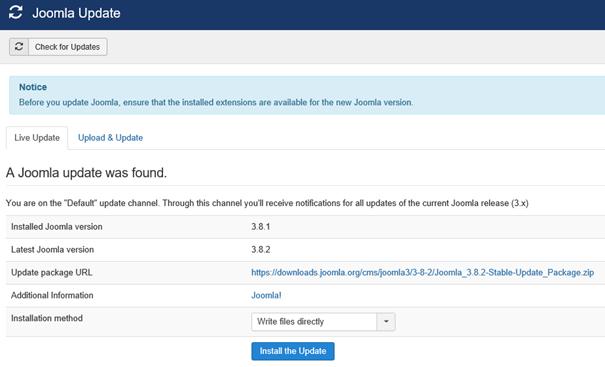 Joomla Registerkarte Live Update