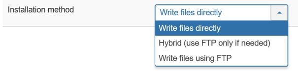 Joomla Update Auswahl der Installationsmethoden
