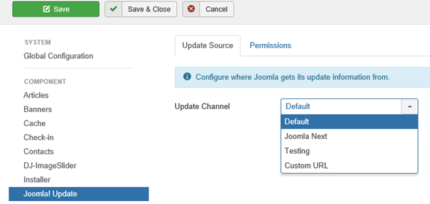 Joomla Global Configuration Update Channels