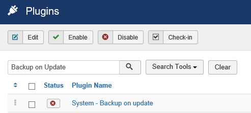 Joomla Plugin Backup on Update ist inaktiv