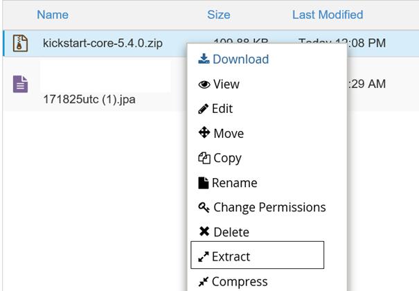 cPanel Entpacken der kickstart-zip-Datei im Verzeichnis der neuen Subdomain