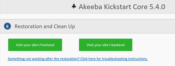 Akeeba Kickstart Frontend und Backend kontrollieren