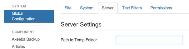 Global Configuration TMP Verzeichnis für Joomla festlegen