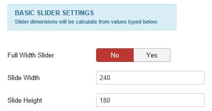 Joomla Die ersten 3 Felder der Basic Slider Settings