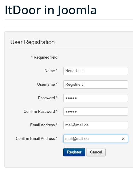 Joomla Registrierungsmaske