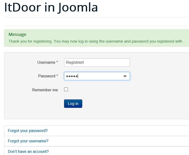 Joomla Besucher der sich registriert hat, soll sich einloggen