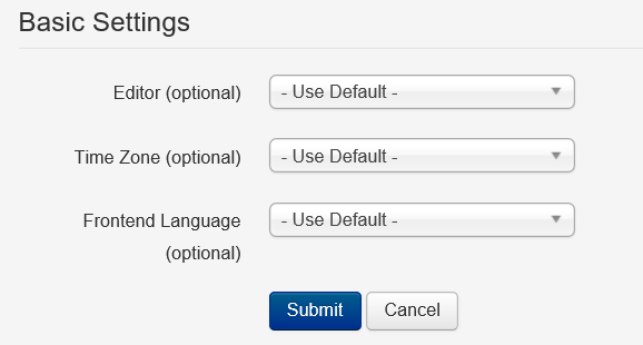 Joomla User Profil Basic Settings