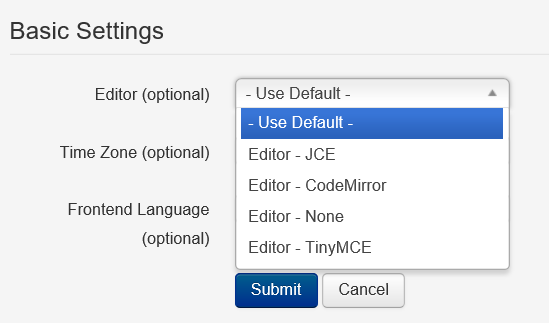 Joomla User Profil Basic Settings Auswahl Editor