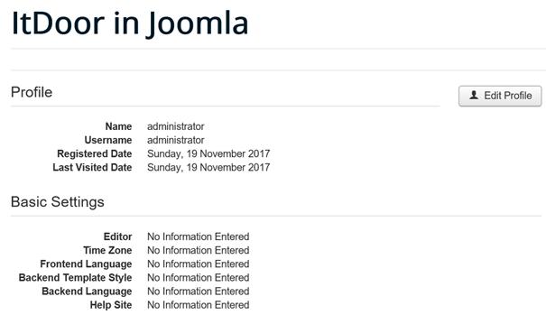 Joomla User Profil bei Benutzergruppe administrator