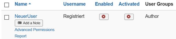 Neuer User nicht freigeben, nicht aktiviert bei New User Account Activation ist Self