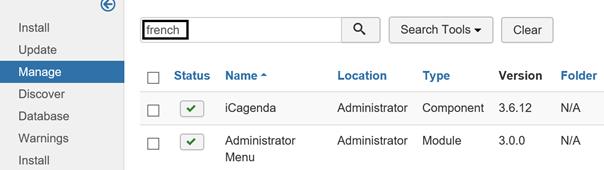 Joomla nach der zu deinstallierenden Sprache suchen