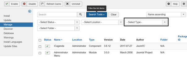 Joomla Extensions Übersicht Search Tools