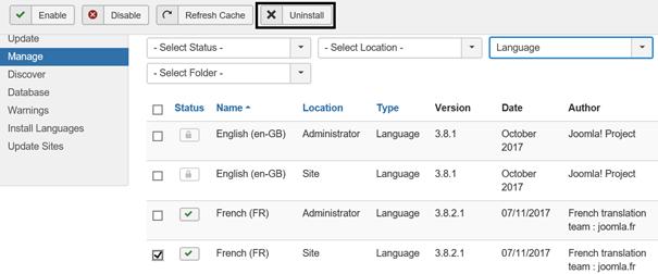 Joomla French Language Pack ist in der Suchergebnisliste nicht zu sehen