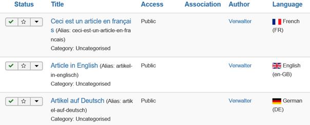 Joomla 3 Artikel in 3 verschiedenen Sprachen