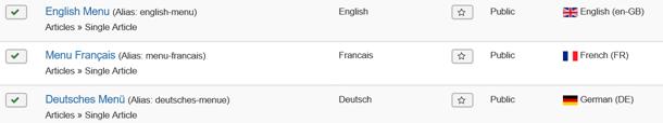Joomla 3 Menu Items für 3 verschiedene Sprachen