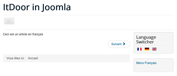 Joomla Website mehrsprachig in französischer Sprache