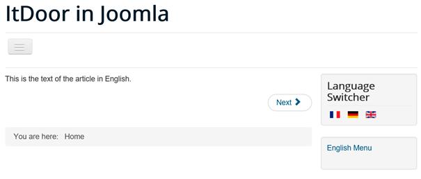 Joomla Website mehrsprachig in englischer Sprache