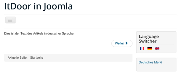 Joomla Website mehrsprachig in deutscher Sprache