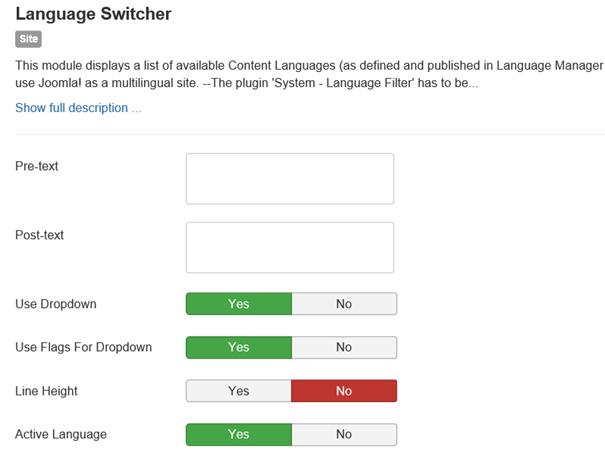 Joomal Einige Gestaltungsmöglichkeiten beim Modul Language Switcher