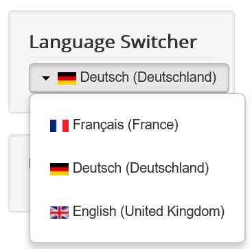 oomla Die 3 Sprachen im Drop Down Menu