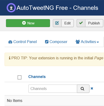 Joomla Auto TweetNG neuen Channel anlegen
