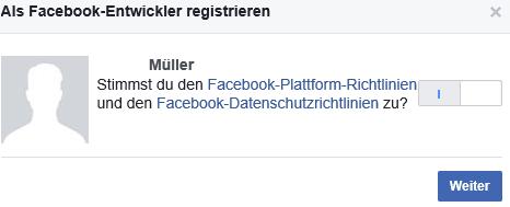 Sich als Facebook Entwickler registrieren II