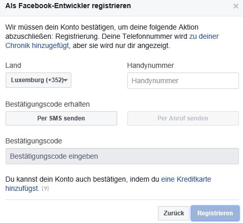 Sich als Facebook Entwickler registrieren III