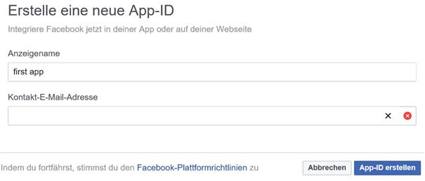 Facebook App-ID erstellen für die App für Auto Tweet NG
