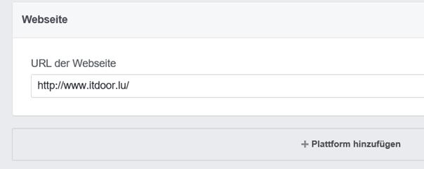 Facebook Entwicklerkonto URL der eigenen Webseite eintragen