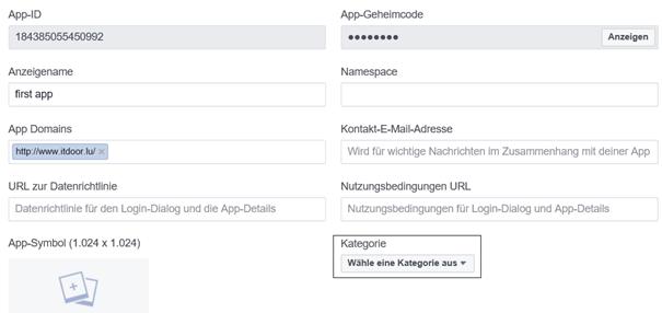 Facebook Entwicklerkonto Einstellungen Allgemeines oberer Teil