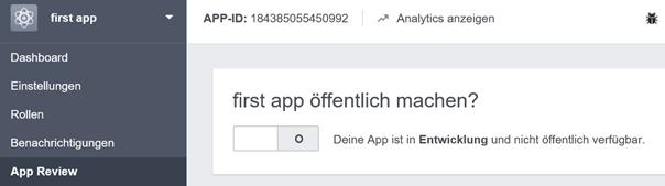 Facebook Entwicklerkonto App Review App öffentlich machen