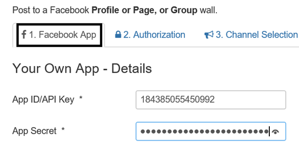 Joomla AutoTweet NG Registerkarte Facebook App