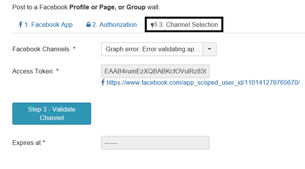 AutoTweet NG Registerkarte Channel Selection Facebook Konto gesperrt
