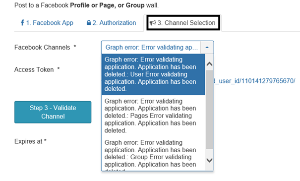 Registerkarte Channel Selection Text wenn Facebook Konto gesperrt