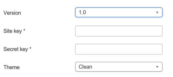 """Joomla Felder auf der linken Seite im Plugin """"Captcha – ReCaptcha""""."""