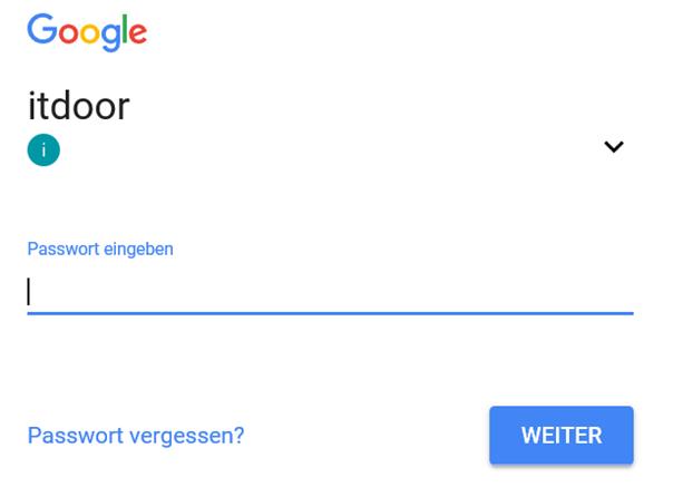 Anmeldung beim Google Konto um reCapta Daten zu erhalten