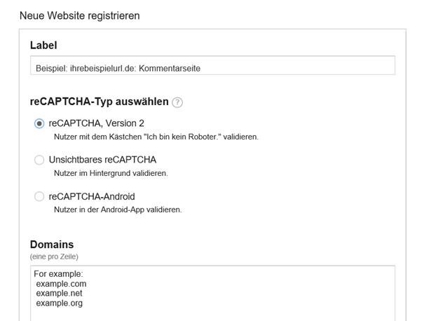 Die Website bei Google für reCaptcha registrieren