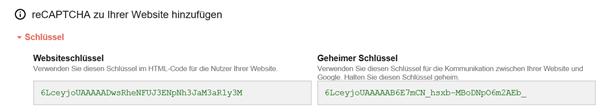 Google bietet mir Websiteschlüssel und geheimen Schlüssel für Captcha an