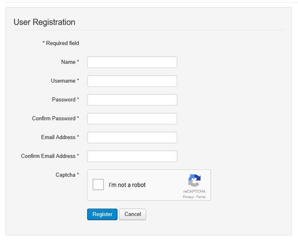 Captcha in Joomla Besucher Registrierung