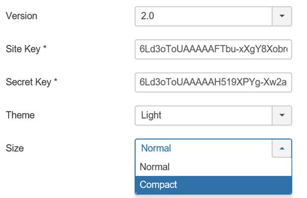 "Joomla Plugin ""CAPTCHA – reCAPTCHA"" Asuwahl Size für Captcha"
