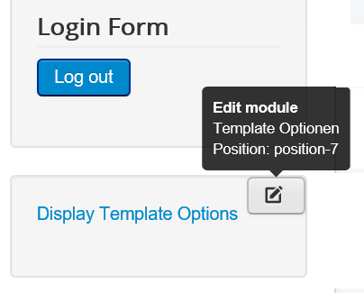 Joomla Edit Module bei Display Template Options