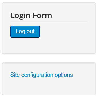 Joomla Menüpunkt Site Configuration Options auf der Website