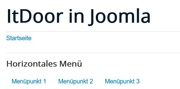 Joomla horizontales Menü auf der Website mit 3 Menüpunkten