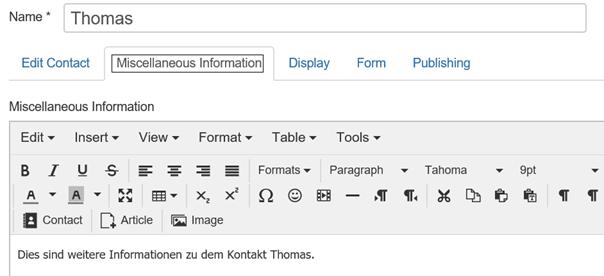 Joomla Registerkarte Miscellaneous Information bei Kontakten