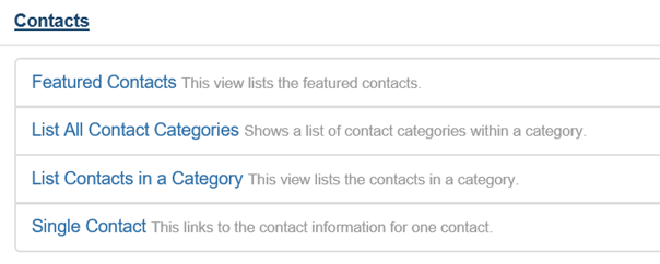 4 Optionen bei Menu Item Type Contacts Joomla
